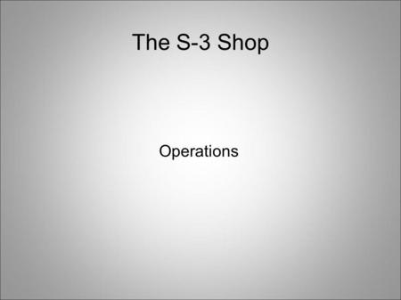 The S-3 Shop Operations. Tasks Leadership matrix Yellow and Blue Cards OPORD/LAB (time line, supply list, instructors) FTX SJER.