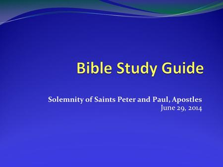 Solemnity of Saints Peter and Paul, Apostles June 29, 2014.