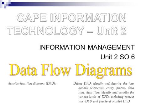 INFORMATION MANAGEMENT Unit 2 SO 6 describe data flow diagrams (DFD);Define DFD; identify and describe the four symbols (elements): entity, process, data.
