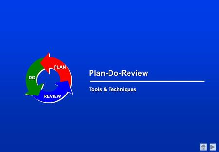 Tools & Techniques Plan-Do-Review PLAN DO REVIEW.