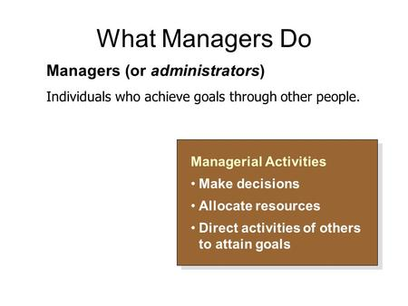 What Managers Do Managerial Activities Make decisions Allocate resources Direct activities of others to attain goals Managerial Activities Make decisions.