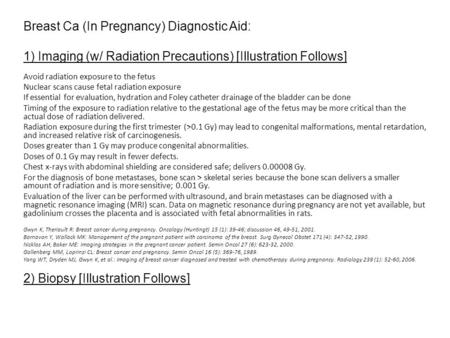 Breast Ca (In Pregnancy) Diagnostic Aid: 1) Imaging (w/ Radiation Precautions) [Illustration Follows] Avoid radiation exposure to the fetus Nuclear scans.