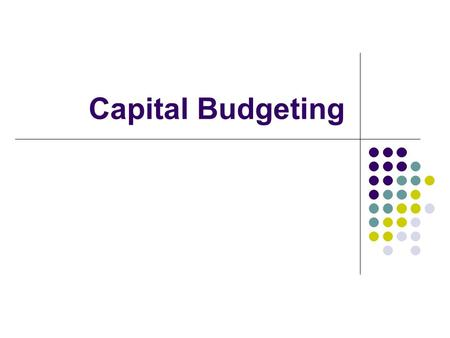 Capital Budgeting. Analysis of potential additions to fixed assets. Long-term decisions; involve large expenditures. Very important to firm's future.