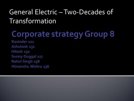 General Electric – Two-Decades of Transformation.
