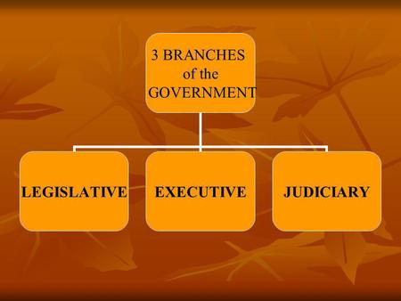 3 BRANCHES of the GOVERNMENT LEGISLATIVEEXECUTIVEJUDICIARY.