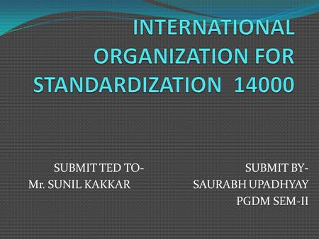 INTERNATIONAL ORGANIZATION FOR STANDARDIZATION 14000