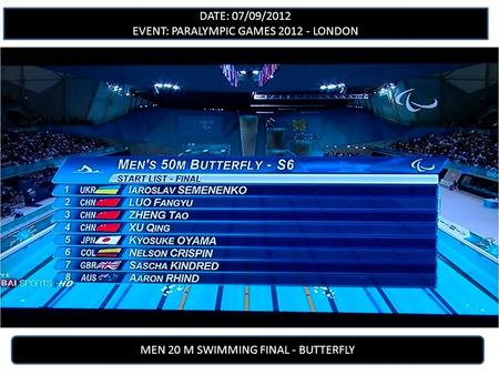 DATE: 07/09/2012 EVENT: PARALYMPIC GAMES 2012 - LONDON MEN 20 M SWIMMING FINAL - BUTTERFLY.