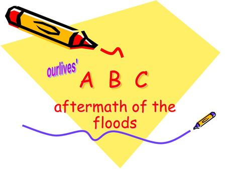 "A B C aftermath of the floods. A A – Anchor ourlives with God Jer 29:11 "" For I know the plans I have for you, declares the LORD, plans to prosper you."