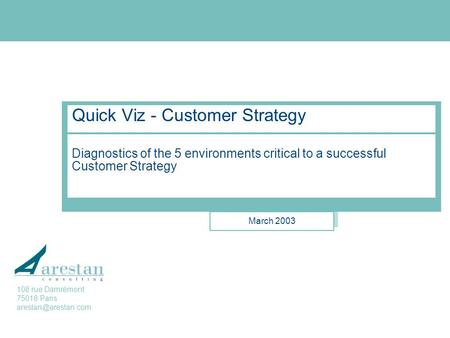 Arestan Consulting Quick Viz - Customer Strategy Diagnostics of the 5 environments critical to a successful Customer Strategy March 2003 108 rue Damrémont.