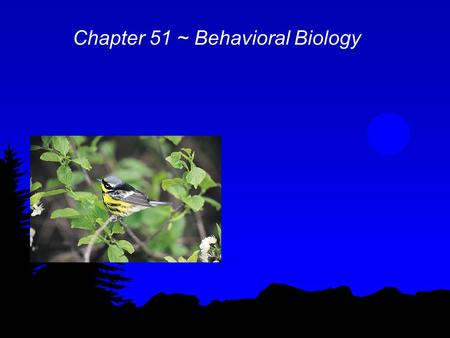 Chapter 51 ~ Behavioral Biology. Behavior l Ethology ~ study of animal behavior l Causation: proximate ~ physiological & genetic mechanisms of behavior.