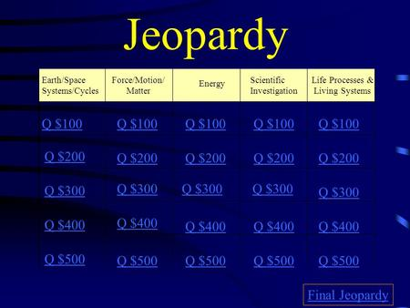Jeopardy Earth/Space Systems/Cycles Force/Motion/ Matter Energy Scientific Investigation Life Processes & Living Systems Q $100 Q $200 Q $300 Q $400 Q.