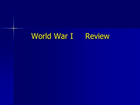 World War I Review.