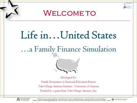 Life In…United States 3.18.3.G1 © Family Economics & Financial Education - Revised May 2009 - Life in...United States Simulation - Bancroft-Notebook Cover.