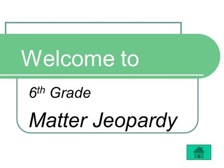 Welcome to 6 th Grade Matter Jeopardy. $100 $200 $300 $400 $100 $200 $300 $400 What Makes Up Matter? Properties of Matter Changing States Matter Math.