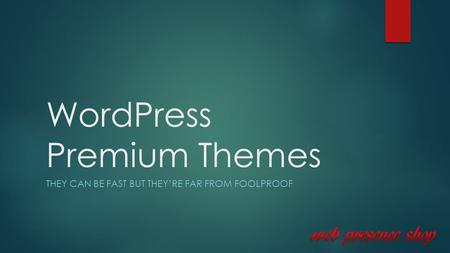 WordPress Premium Themes THEY CAN BE FAST BUT THEY'RE FAR FROM FOOLPROOF.