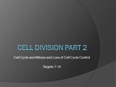 Cell Cycle and Mitosis and Loss of Cell Cycle Control Targets 7-14.