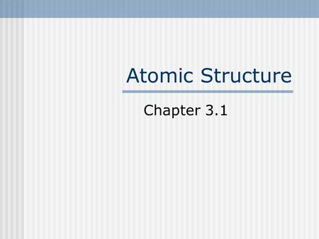 Atomic Structure Chapter 3.1. Subatomic Particles Proton +1 charge, found in the nucleus Neutron No charge, found in the nucleus Electron -1 charge, found.