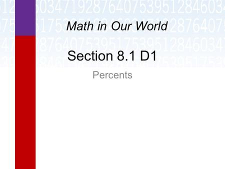 Section 8.1 D1 Percents Math in Our World. Learning Objectives  Convert between percent, decimal, and fraction form.  Perform calculations involving.