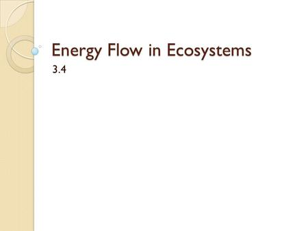 Energy Flow in Ecosystems 3.4. Energy Flow When an animal eats a plant, energy is transferred from plant to animal The same thing happens when an animal.
