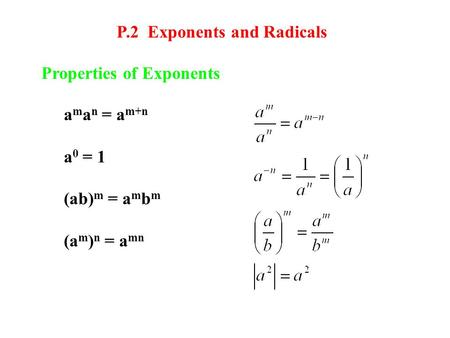 P.2 Exponents and Radicals Properties of Exponents a m a n = a m+n a 0 = 1 (ab) m = a m b m (a m ) n = a mn.