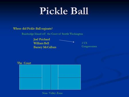 Pickle Ball Where did Pickle-Ball orginate? Joel Prichard William Bell Barney McCallum Bainbridge Island off the Coast of Seattle Washington The Court.