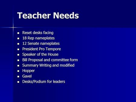 Teacher Needs Reset desks facing Reset desks facing 18 Rep nameplates 18 Rep nameplates 12 Senate nameplates 12 Senate nameplates President Pro Tempore.
