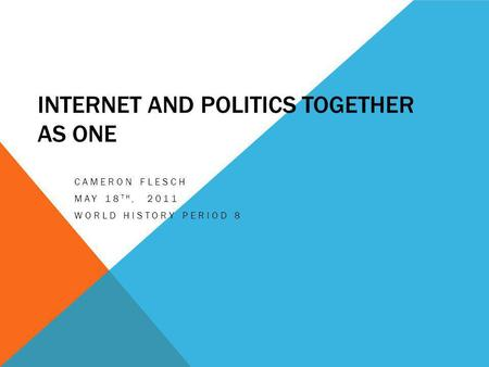 INTERNET AND POLITICS TOGETHER AS ONE CAMERON FLESCH MAY 18 TH, 2011 WORLD HISTORY PERIOD 8.