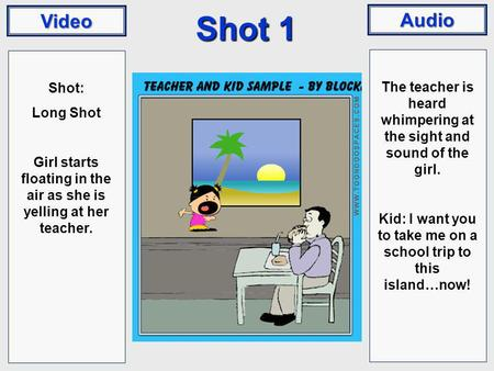 Video Audio Shot 1 Shot: Long Shot Girl starts floating in the air as she is yelling at her teacher. The teacher is heard whimpering at the sight and sound.