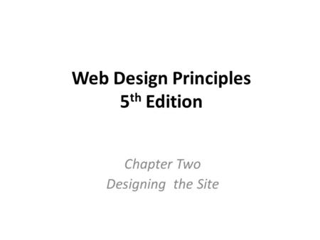Web Design Principles 5th Edition