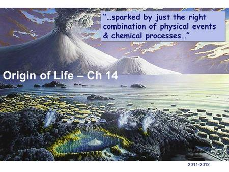 "2011-2012 Origin of Life – Ch 14 ""…sparked by just the right combination of physical events & chemical processes…"""
