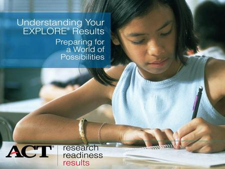 Slide 1 EXPLORE shows your strengths and weaknesses in English, mathematics, reading, and science. EXPLORE helps you search for careers and learn which.
