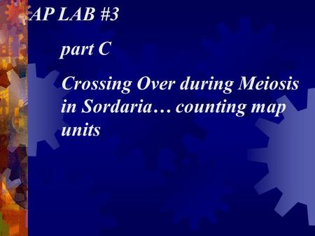 AP LAB #3 part C Crossing Over during Meiosis in Sordaria… counting map units.