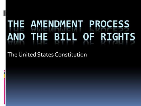 "The United States Constitution. The Amendment Process  The authority to amend the Constitution is derived from Article V of the Constitution:  ""The."