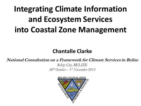 Integrating Climate Information and Ecosystem Services into Coastal Zone Management Chantalle Clarke National Consultation on a Framework for Climate Services.