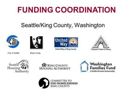 Seattle/King County, Washington FUNDING COORDINATION King CountyCity of Seattle.
