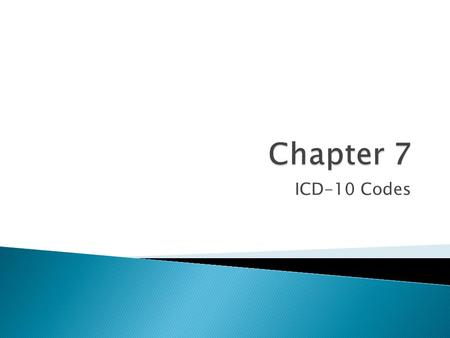 ICD-10 Codes.  ICD-10-CM scheduled to replace ICD-9-CM  Target implementation date 2013.