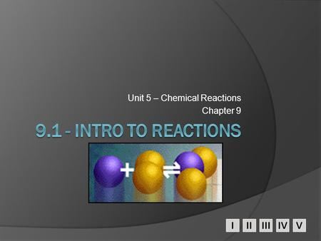 IIIIIIIVV Unit 5 – Chemical Reactions Chapter 9. A.Signs of a Chemical Reaction  Evolution of heat and light  Formation of a gas  Formation of a precipitate.