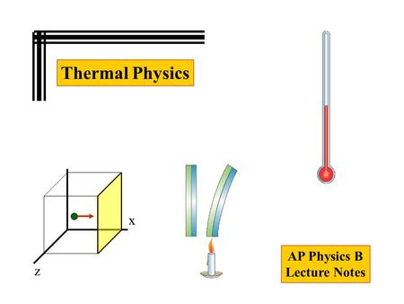 Thermal Physics AP Physics B Lecture Notes x z. Thermal Physics 10-01 Temperature and the zeroth Law of Thermodynamics 10-02 Thermometers and Temperature.