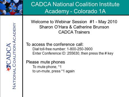National Coalition Academy CADCA National Coalition Institute Academy - Colorado 1A Welcome to Webinar Session #1 - May 2010 Sharon O'Hara & Catherine.