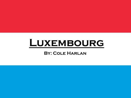 Luxembourg By: Cole Harlan. Flag Government Luxembourg is a Parliamentary Democracy headed by a Constitutional Monarch. Executive power is exercised.