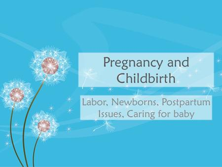 Pregnancy and Childbirth Labor, Newborns, Postpartum Issues, Caring for baby.