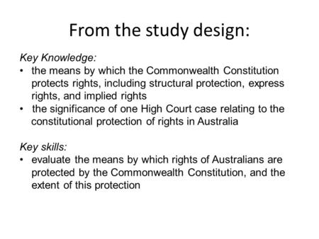 From the study design: Key Knowledge: