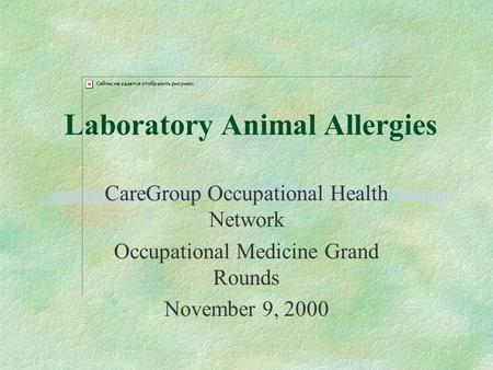 Laboratory Animal Allergies CareGroup Occupational Health Network Occupational Medicine Grand Rounds November 9, 2000.