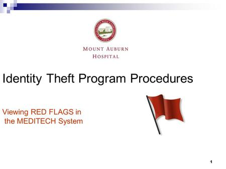 1 Identity Theft Program Procedures Viewing RED FLAGS in the MEDITECH System.
