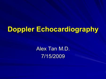 Doppler Echocardiography