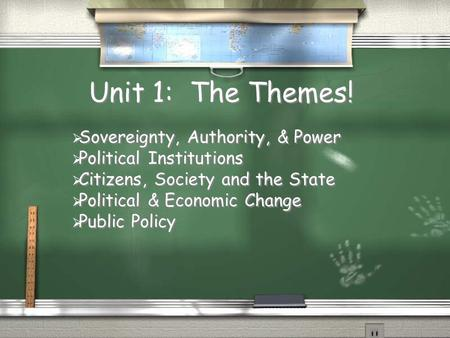 Unit 1: The Themes! Sovereignty, Authority, & Power