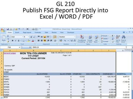 GL 210 Publish FSG Report Directly into Excel / WORD / PDF.