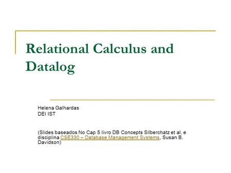 Relational Calculus and Datalog