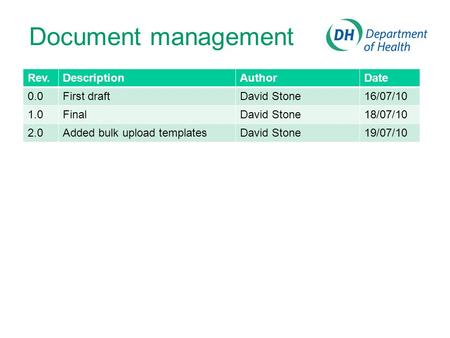 Rev.DescriptionAuthorDate 0.0First draftDavid Stone16/07/10 1.0FinalDavid Stone18/07/10 2.0Added bulk upload templatesDavid Stone19/07/10 Document management.