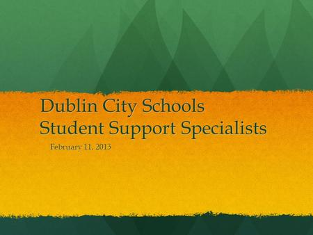Dublin City Schools Student Support Specialists February 11, 2013.